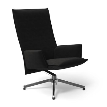 Shown in Ultrasuede Black Onyx with Polished Aluminum base finish