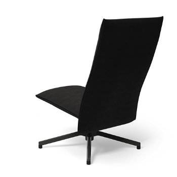 Shown in Ultrasuede Black Onyx with Dark Grey Painted Base finish, Rear view