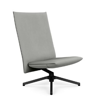 Shown in Volo Cadet Leather with Polished Aluminum base finish, Rear view