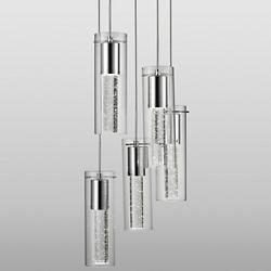 Bubbles Encased Cylinder LED Multi Light Pendant