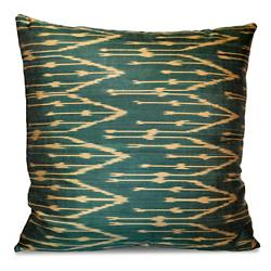 Green and Yellow Silk Ikat Pillow