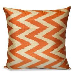 Orange and White Silk Ikat Pillow
