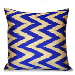 Gray and Blue Silk Ikat Pillow