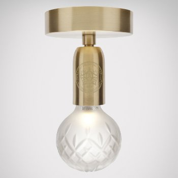 Shown in Frosted, Brushed Brass finish, lit