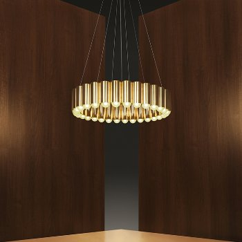 Shown in Polished Brass finish, Small size, lit