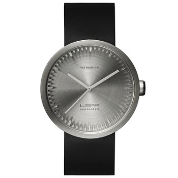 Shown in Steel finish, Black Leather strap