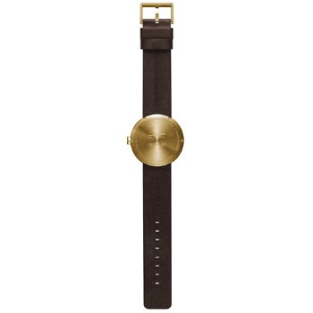 Shown in Brass finish, Brown Leather strap