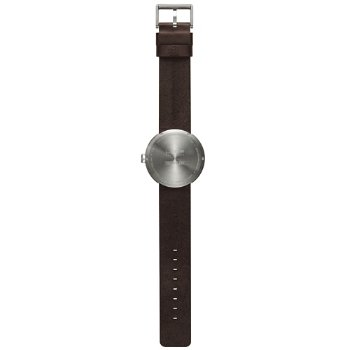 Shown in Steel finish, Brown Leather strap