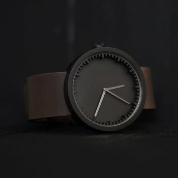 Shown in Black finish, Brown Leather strap