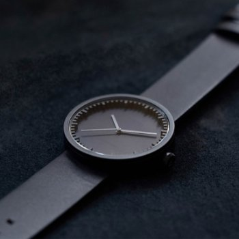 Shown in Black finish, Black Leather strap