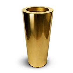 Oro Chroma Gold Finish Cone Indoor Planter