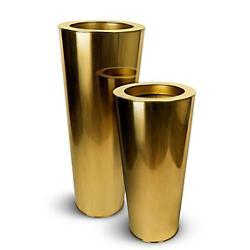 Oro Chroma Gold Finish Short Cone Indoor Planter, Set of 2