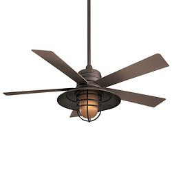 Rainman Ceiling Fan (Oil Rubbed Bronze with Taupe blades and Vintage Amber glass) - OPEN BOX RETURN
