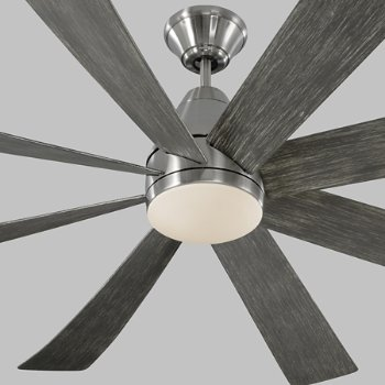 Shown in Brushed Steel with Light Grey Weathered Oak Blades, finish, Detail view