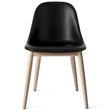 Shown in Natural Oak Legs, Dakar Leather: Black fabric