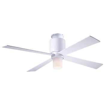 Shown in Gloss White finish, White blades, LED