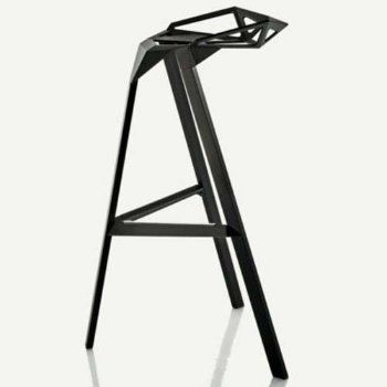 Shown in Barstool, Black/Anodised Aluminum Black Legs, side view