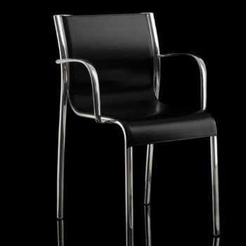 Shown in Polished Aluminum Arms/Black Leather Seating