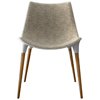 Shown in Oatmeal Fabric with Teak Legs