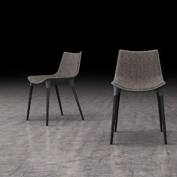 Shown in Charcoal Denim Fabric with Black Oak Legs