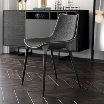 Shown in Charcoal Denim Fabric on Black Oak Legs, in use