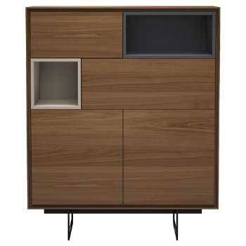Shown in Walnut and Asphalt finish