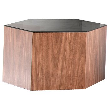 Shown in Black Glass and Walnut, 10 Inch