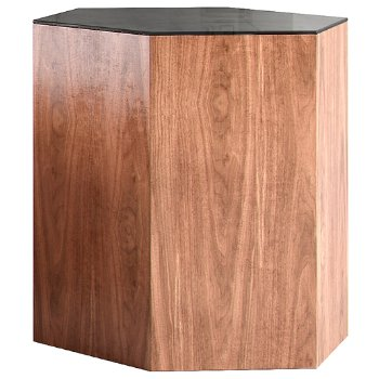 Shown in Black Glass and Walnut, 18 Inch