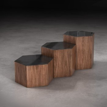 Shown in Black Glass and Walnut