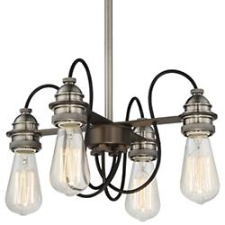 Uptown Edison Convertible 4-Light Chandelier