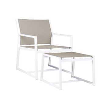 Shown in White finish, Canatex Hemp With Footrest