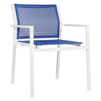 Shown in Gem Blue fabric, White frame