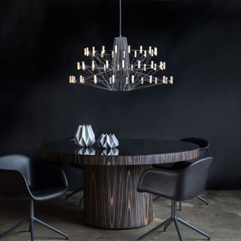Shown in Chrome finish, Large size, in use over dining table