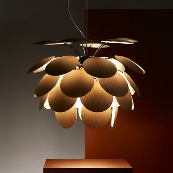 Discoco Wood Pendant Light, in use