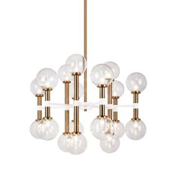 Shown in Clear Glass Shade color, Aged Gold Brass finish, Medium size