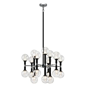 Shown in Clear Glass Shade color, Black finish, Medium size