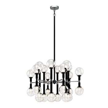 Shown in Clear Glass Shade color, Black finish, Large size