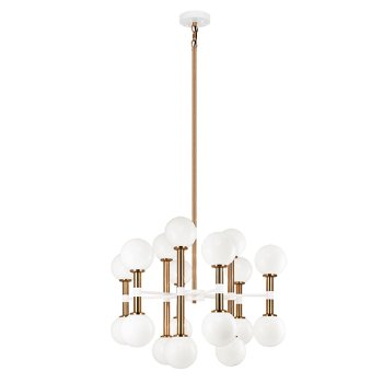 Shown in Opal Glass Shade color, Aged Gold Brass finish, Medium size