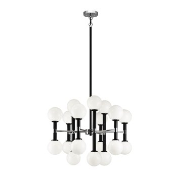 Shown in Opal Glass Shade color, Black finish, Medium size