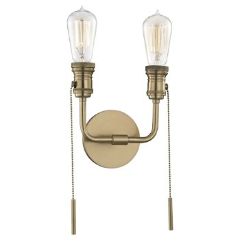 Shown in Aged Brass finish, 2 Light