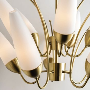 Shown in Aged Brass finish, 10 Lights, Detail view