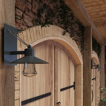 Civic Outdoor LED Wall Sconce, in use