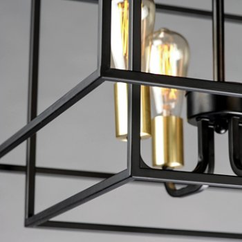 Shown in Black and Satin Brass finish, Detail view