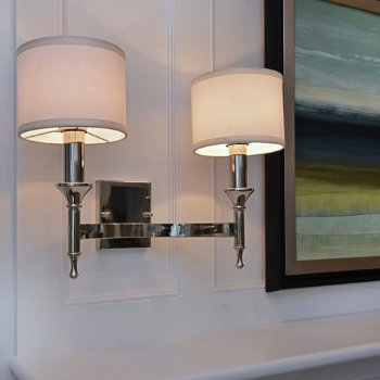 Shown in Polished Nickel finish, In use, lit