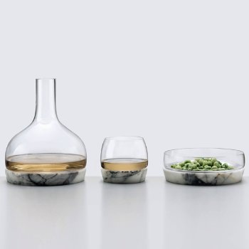 Chill Whisky Tumbler With Marble Base with Chill Bowl with Marble Base and Chill Carafe with Marble Base