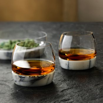 Chill Whisky Tumbler With Marble Base with Chill Bowl with Marble Base