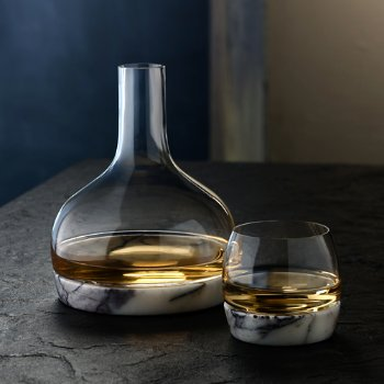 Chill Whisky Tumbler With Marble Base with Chill Carafe with Marble Base