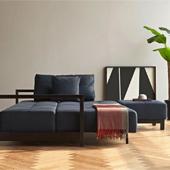 Shown in Mixed Dance Blue, Black Lacquered Wood leg finish