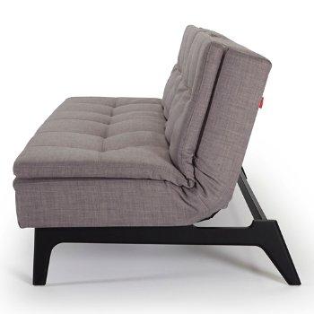 Begum Light Grey color, Black Lacquered Wood Leg finish