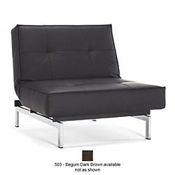 Splitback Chair, Stainless Steel Base (503 - Begum Dark Brown) - OPEN BOX RETURN